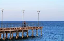 En pir på den Molos promenaden i Limassol royaltyfria foton