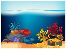 En piratkopierabröstkorg under havet royaltyfri illustrationer
