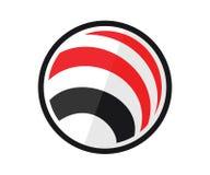 En planet eller en orb i röd och svart färg stock illustrationer