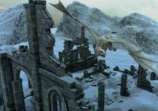 En plats av en djupfryst slott i bergen med enormt hudflänga för drake vektor illustrationer