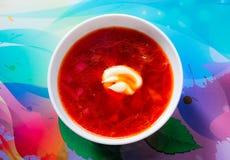 En platta av borscht på tabellen royaltyfri fotografi