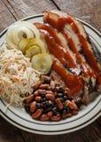 En platta av den skivade bringan med vita bönor i tomatsås, colevitkålssallad och dill Royaltyfri Fotografi