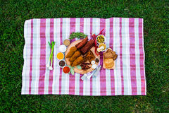 En platta av kött på en bordduk Kryddor i sortimentet Aroun royaltyfri foto