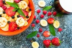 En platta av mysli med bär-, banan- och linfrö dekoreras med mintkaramellsidor Bästa sikt för sund och sund frukost royaltyfri bild