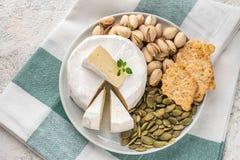En platta med brieost, pistascher, pumpafrö Italienska antipastimellanm?l Fransk camembertost royaltyfri fotografi