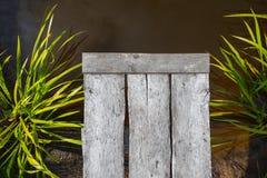 En plattform för att dyka in i vattnet som en träbakgrund av plankor på bakgrunden av vatten och växter royaltyfria bilder