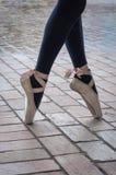En Pointe della ballerina Fotografia Stock