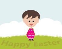 Lycklig påsk från en gladlynt pojke Royaltyfria Foton