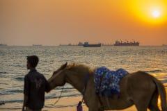 En pojke för instruktör för hästridning som söker hennes klienter på den Patenga stranden, Chittagong, Bangladesh royaltyfri foto