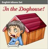 En pojke i hundkojan royaltyfri illustrationer
