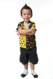 En pojke korsade armar Fotografering för Bildbyråer