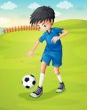 En pojke med en blå enhetlig övning på backen stock illustrationer