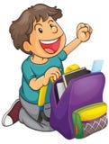 En pojke med skolapåsen Arkivfoton