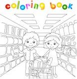 En pojke och en flicka shoppar i ett lager vektor illustrationer