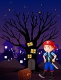 En pojke och smycken boxas stock illustrationer