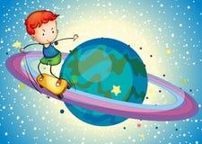 En pojke på ett planet Arkivbild