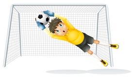 En pojke som öva för att fånga fotbollbollen Fotografering för Bildbyråer