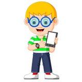En pojke som använder en minnestavla Royaltyfri Bild