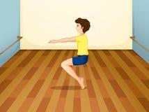 En pojke som balanserar hans kropp royaltyfri illustrationer