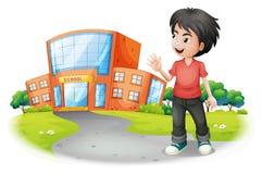 En pojke som framme står av skolan royaltyfri illustrationer