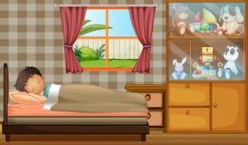 En pojke som sover i hans sovrum royaltyfri illustrationer