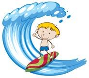 En pojke som surfar på stor våg stock illustrationer