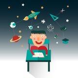 En pojke studerar vetenskap liksom matematik, astronomi och chemistr Arkivfoton