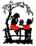 En pojkedonatorblomma till unga flickan Arkivbild