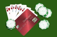 En pokerhand och chiper längs sida en kunglig spolning och en kreditkort är på temat av att välja en vinnare av en kreditkort vektor illustrationer