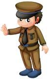 En polis i en brun likformig stock illustrationer