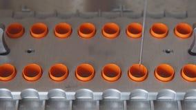 En primer del laboratorio médico el robot realiza el procedimiento de la fertilización artificial de huevos con una aguja metrajes