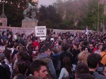 En protest i Belgrade Royaltyfri Bild