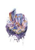 En purpurfärgad kristall stock illustrationer