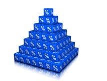 En pyramid av procentkuber Fotografering för Bildbyråer