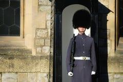 En queen' s-vakt på tornet av London Arkivfoton