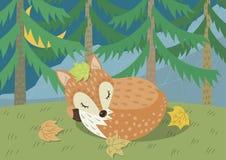 En räv som sover i djungel royaltyfri illustrationer