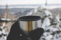 En råna av varmt te, bergsikt Arkivbild