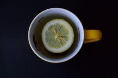 En råna med te och citronen royaltyfri bild
