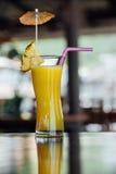 En régénérant le verre de cocktail d'ananas avec des tranches d'ananas, dentelez les pailles de jus et la décoration Photographie stock