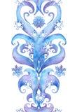 En répétant l'hiver encadrez le cadre, rayure d'ornamental d'aquarelle Photo libre de droits