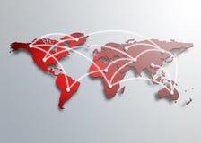 En röd översikt av världen stock illustrationer