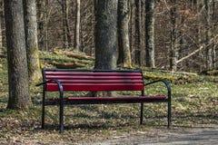 En röd bänk fotografering för bildbyråer