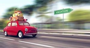En röd bil med bagage på taket går snabb på semester royaltyfri illustrationer