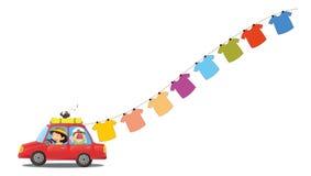 En röd bil med hängande kläder vektor illustrationer