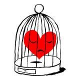 En röd hjärta är ledsen i buren för fågeln Roligt och underhållande hälsa kort för feriefestmåltiden av helgonet Valentine Day sk stock illustrationer