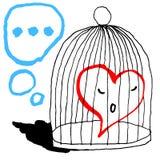 En röd hjärta är ledsen i buren för fågeln som isoleras på vit bakgrund Hälsningkort för feriefestmåltiden av den Sanka valentin royaltyfri illustrationer
