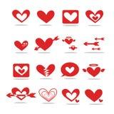 En röd hjärta-formad symbol 2D Arkivfoto