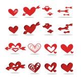 En röd hjärta-formad symbol 2D - 3D Fotografering för Bildbyråer