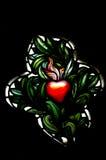 En röd hjärta i målat glass Royaltyfri Foto