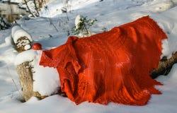 En röd sjal på en vit fluffig snö royaltyfri foto